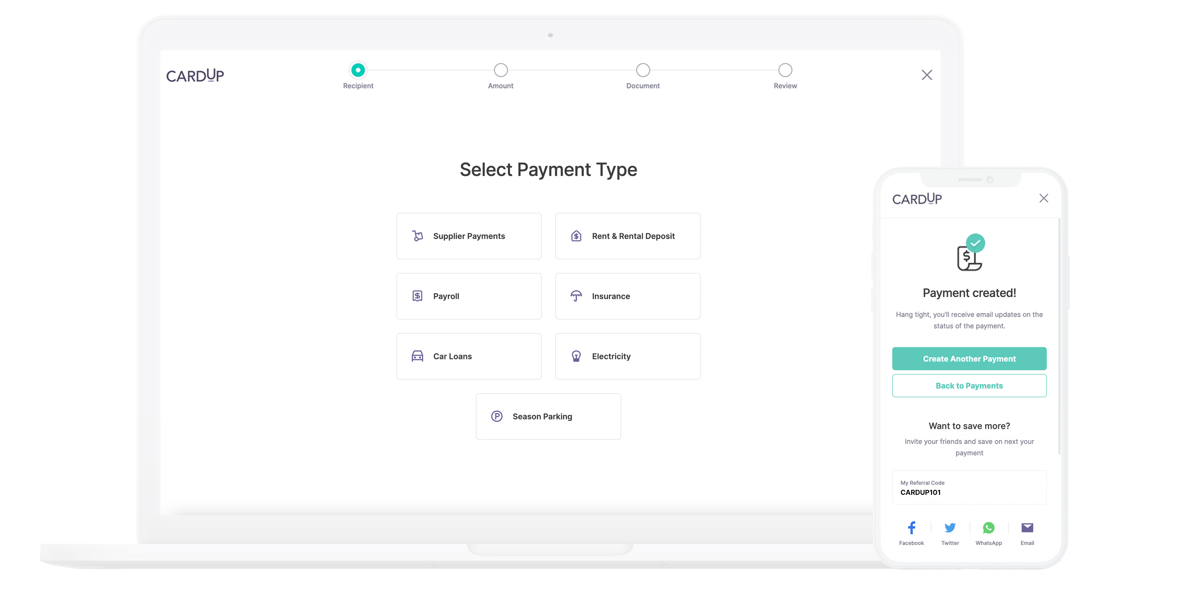 Pay business rent, supplier invoice, payroll, tax and more via CardUp's online platform