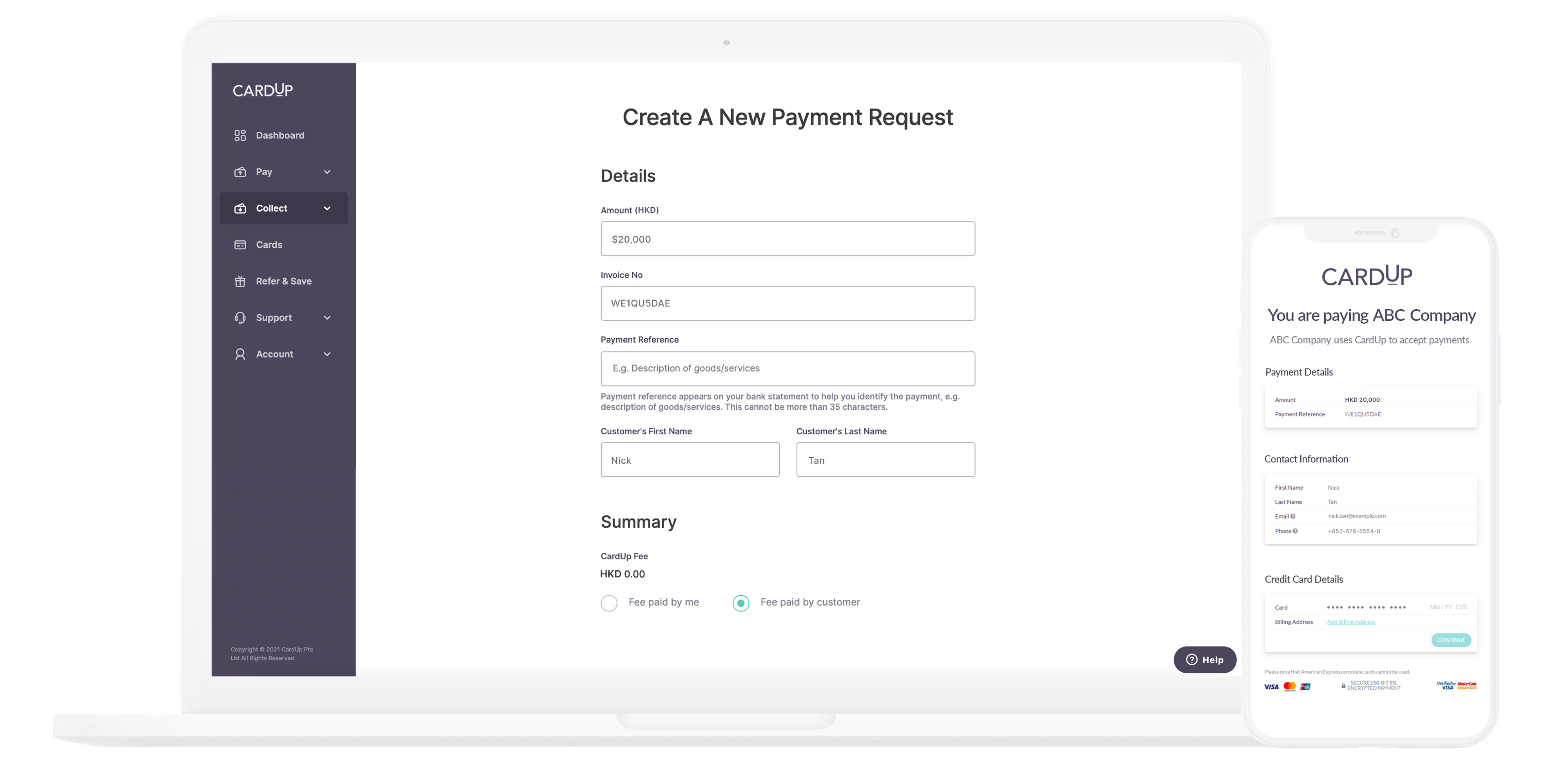 Create a payment request and send it to your customers in just a few clicks