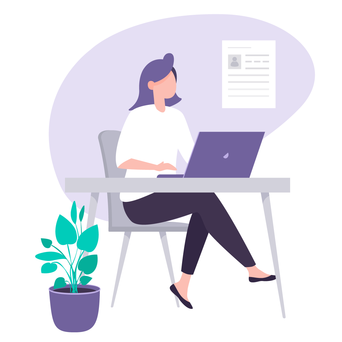 Illustration of person using computer to fill out form