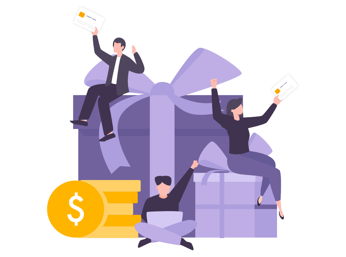Illustration of people celebrating rewards with their credit card