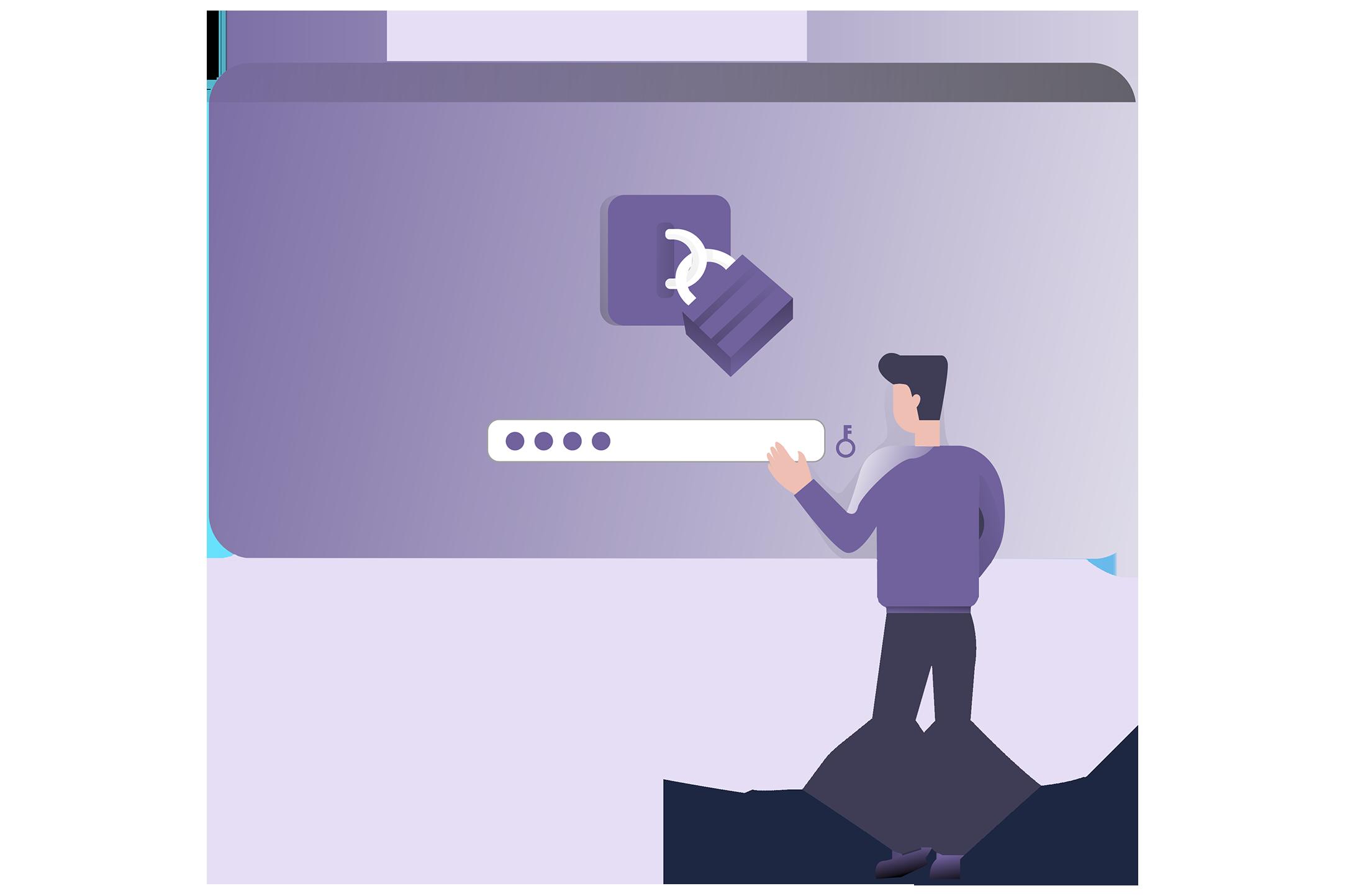 Illustration of platform log in with utmost security