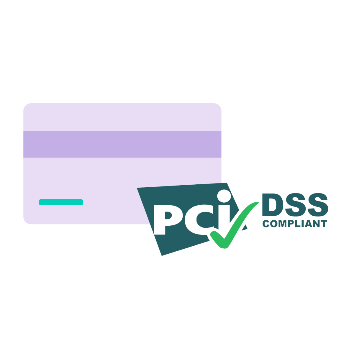 Icon of credit card and PCI-DSS Compliant logo