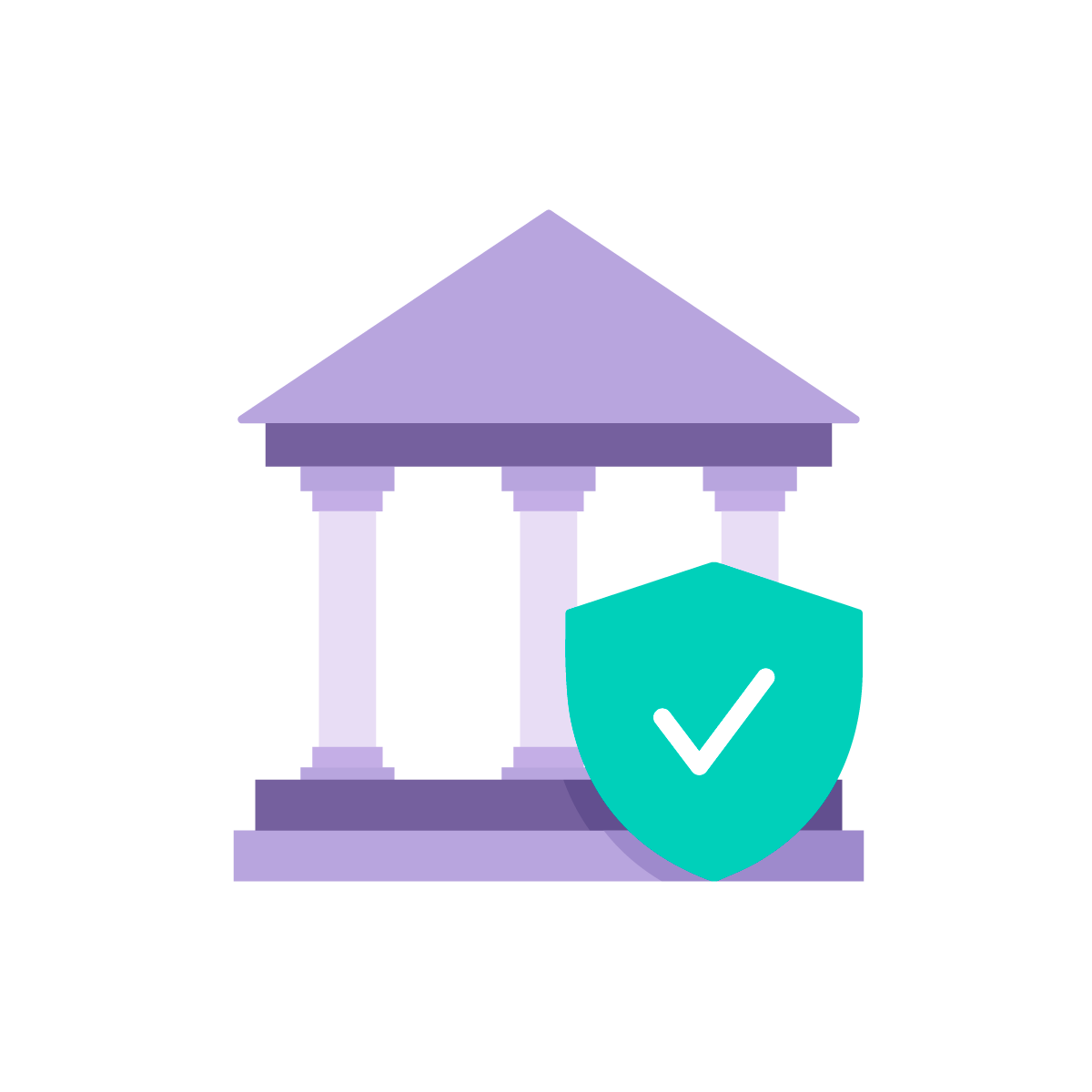 Icon of bank with high security check